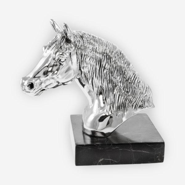 Escultura de Plata de un Busto de Caballo hecha mediante proceso de electroformado