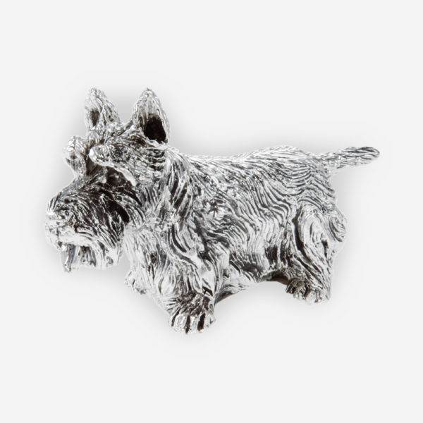 Scottish Terrier Dog Silver Sculpture is crafted with electroforming techniques and dipped in silver .999