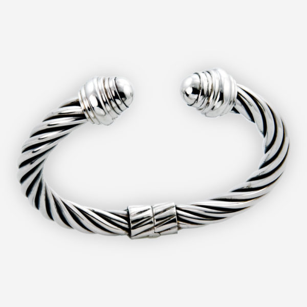 Thick sterling silver twisted cable bracelet crafted from oxidized 925 sterling silver.