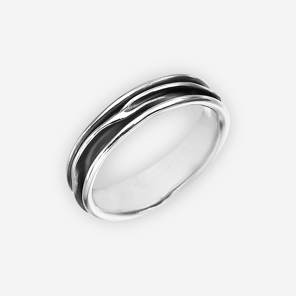 Thin unisex sculpted silver ring crafted from 925 sterling silver.