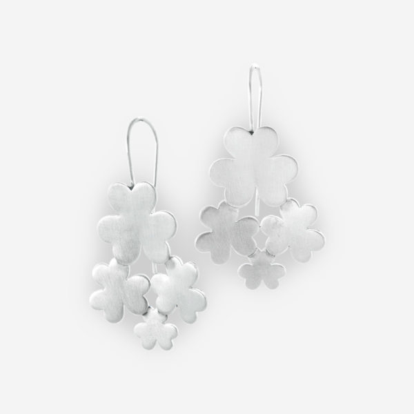 Clovers Dangle Earrings crafted in Matte Sterling Silver