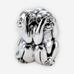 Three wise monkeys silver sculpture is crafted with electroforming techniques and dipped in sterling silver.