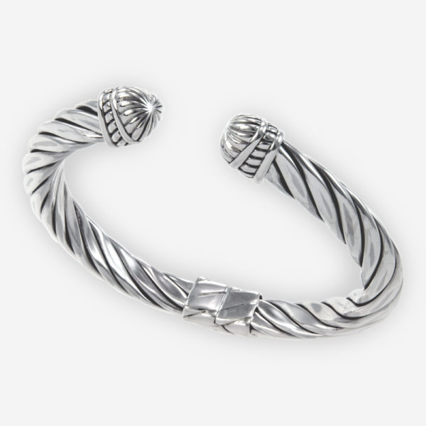 Sterling Silver Tiangular Cable Bracelet with Hinge Closure.