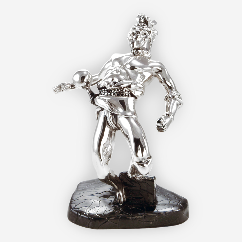 Tribal warrior dance sculpture is crafted with electroforming techniques and dipped in sterling silver.