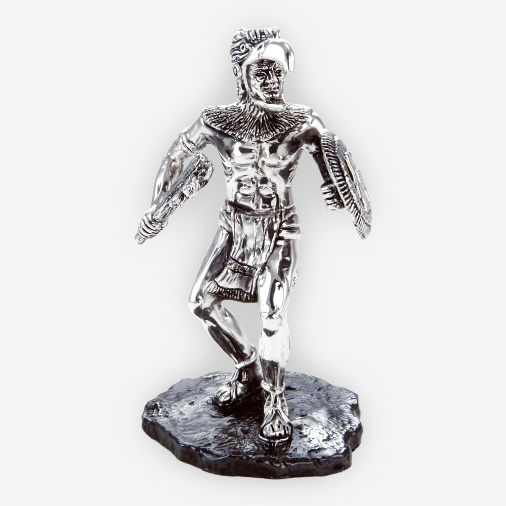 Tribal warrior silver sculpture is crafted with electroforming techniques and dipped in sterling silver.