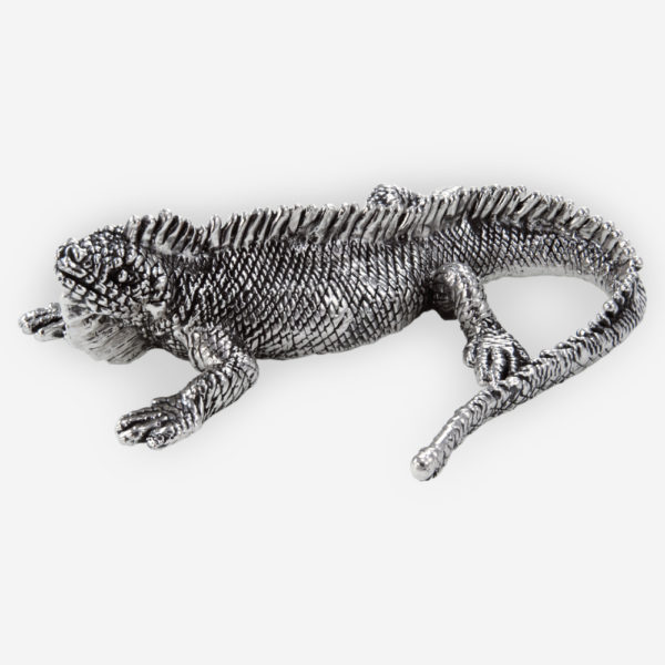 Iguana Silver Sculpture crafted with electroforming techniques and dipped in silver .999