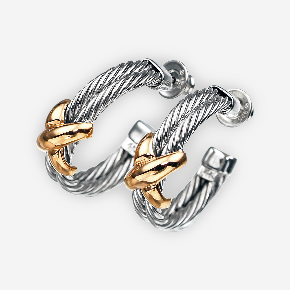 Twisted cable hoop earrings in sterling silver and 14k gold with post backings.