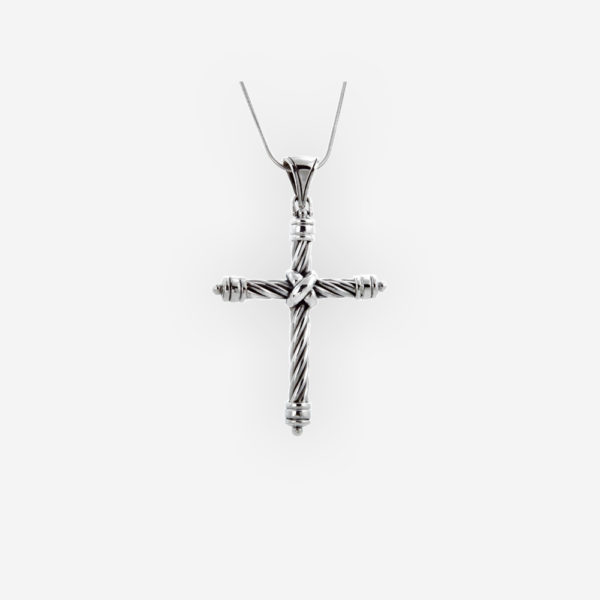 Twisted cable religious cross pendant features a twisted cable design and crafted in 925 sterling silver.