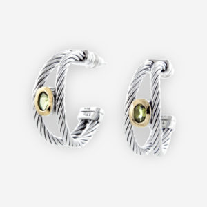 Twisted cable Silver Hoop Earrings with gems and 14k Gold.