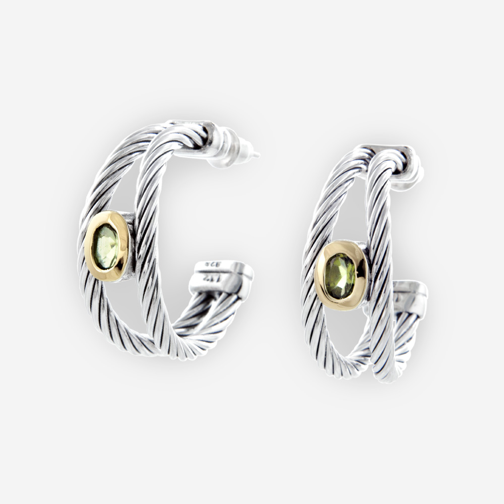 e2927a46c45 Twisted Cable Sterling Silver Hoop Earrings with Oval Cut Peridots ...