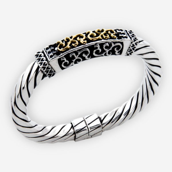 Open filigree cable bracelet featuring scrolling filigree openwork and crafted from 925 sterling silver with 14k gold detail.