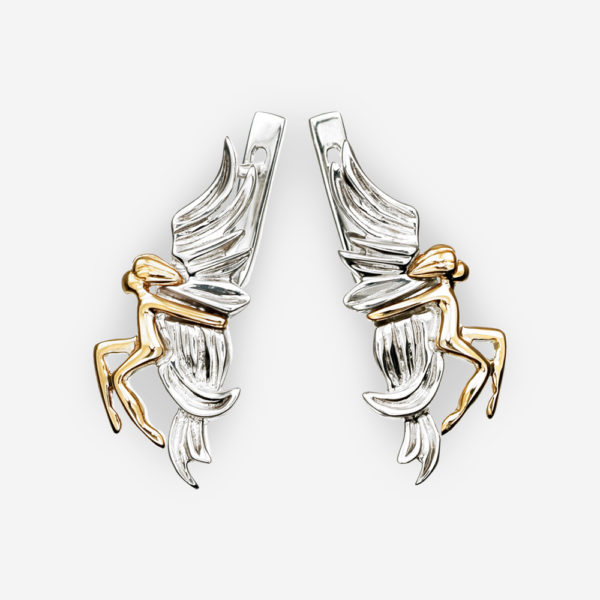 Two Tone Silver Angel Earrings featuring 14k gold angels and 925 sterling silver.