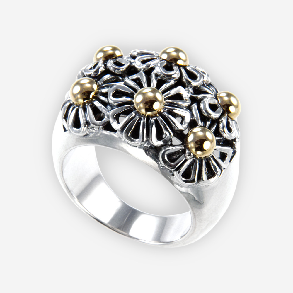 Two-tone daisy cocktail ring features daisy flower design and crafted in 925 sterling silver with 14k gold details.