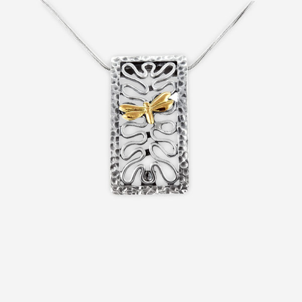 Two tone silver dragonfly necklace crafted from 925 sterling silver and 14k gold embossed dragonfly.