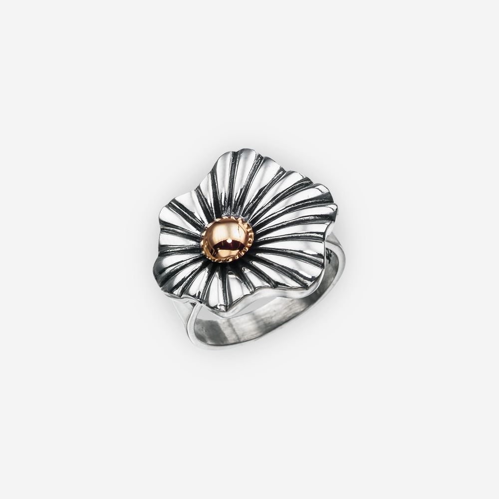 Elegant two tone sterling silver statement ring with a single abstract flower design upper and a 14k gold pistil.