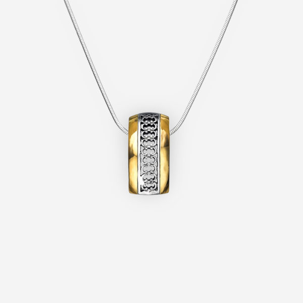 Delicate two tone silver necklace with filigree design and 14k gold accents on silver chain.