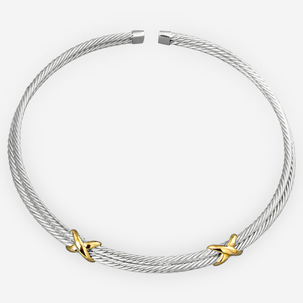 Two tone twisted cable choker sculpted from 925 sterling silver and 14k gold.