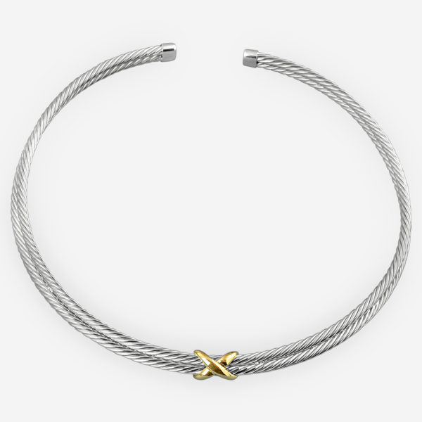 Two tone twisted cable silver choker sculpted from 925 sterling silver and 14k gold.