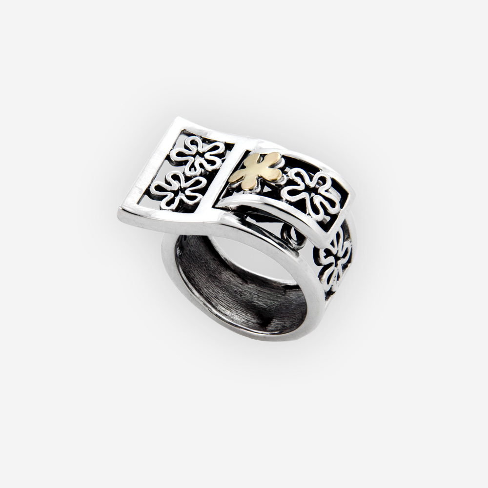 Unique silver floral ring is crafted in 925 sterling silvcer with 14k gold details.
