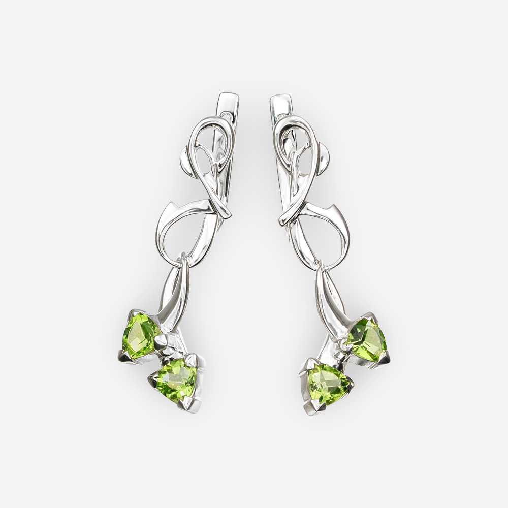 Unique sterling silver peridot drop earrings with latch back closures.