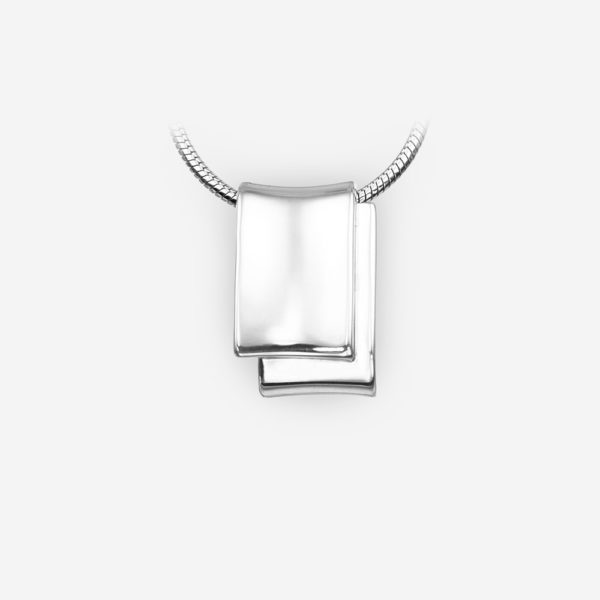 Unisex minimalist sterling silver pendant with a high polished finish.