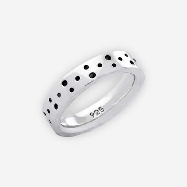 Unisex modern thick sterling silver ring with oxidized dot design.