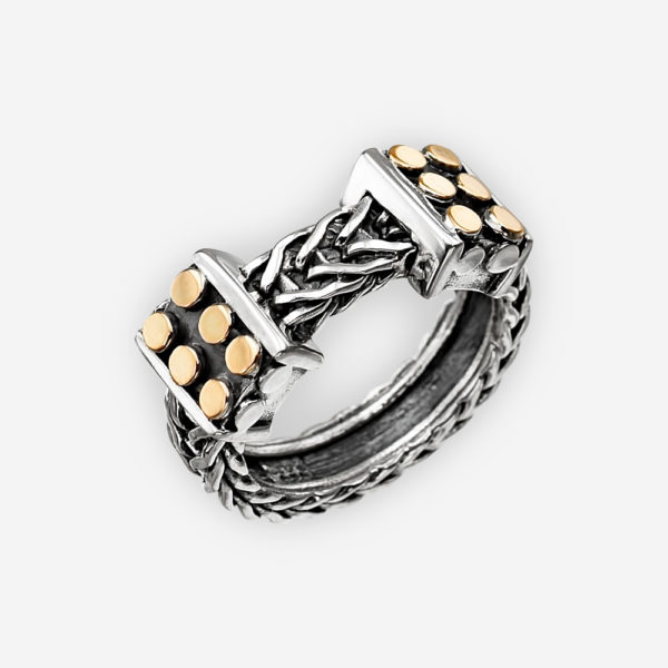 Unisex oxidized silver braided band crafted from 925 sterling silver with 14k gold dot accents.