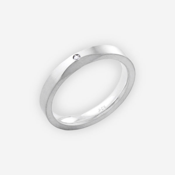Unisex matte silver ring with bevelled edge upper and CZ stone.