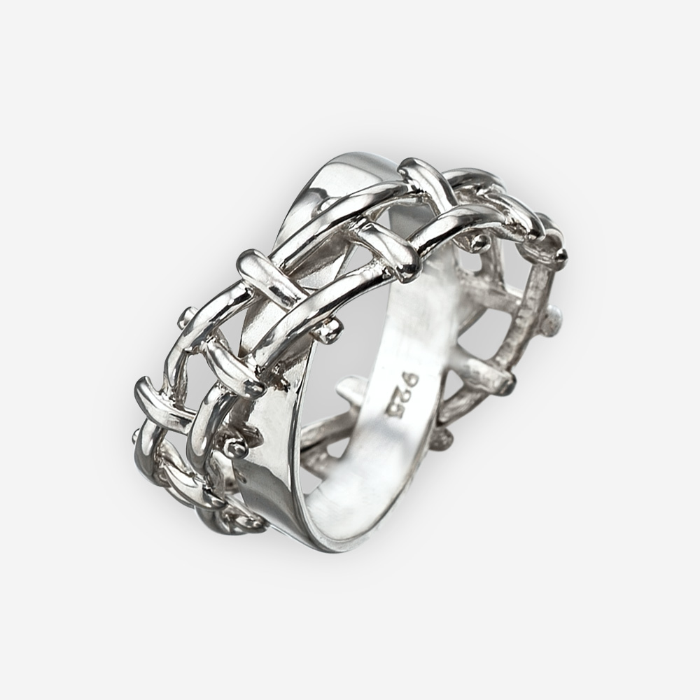 Unisex silver woven rope ring crafted in 925 sterling silver with a double crossed band.