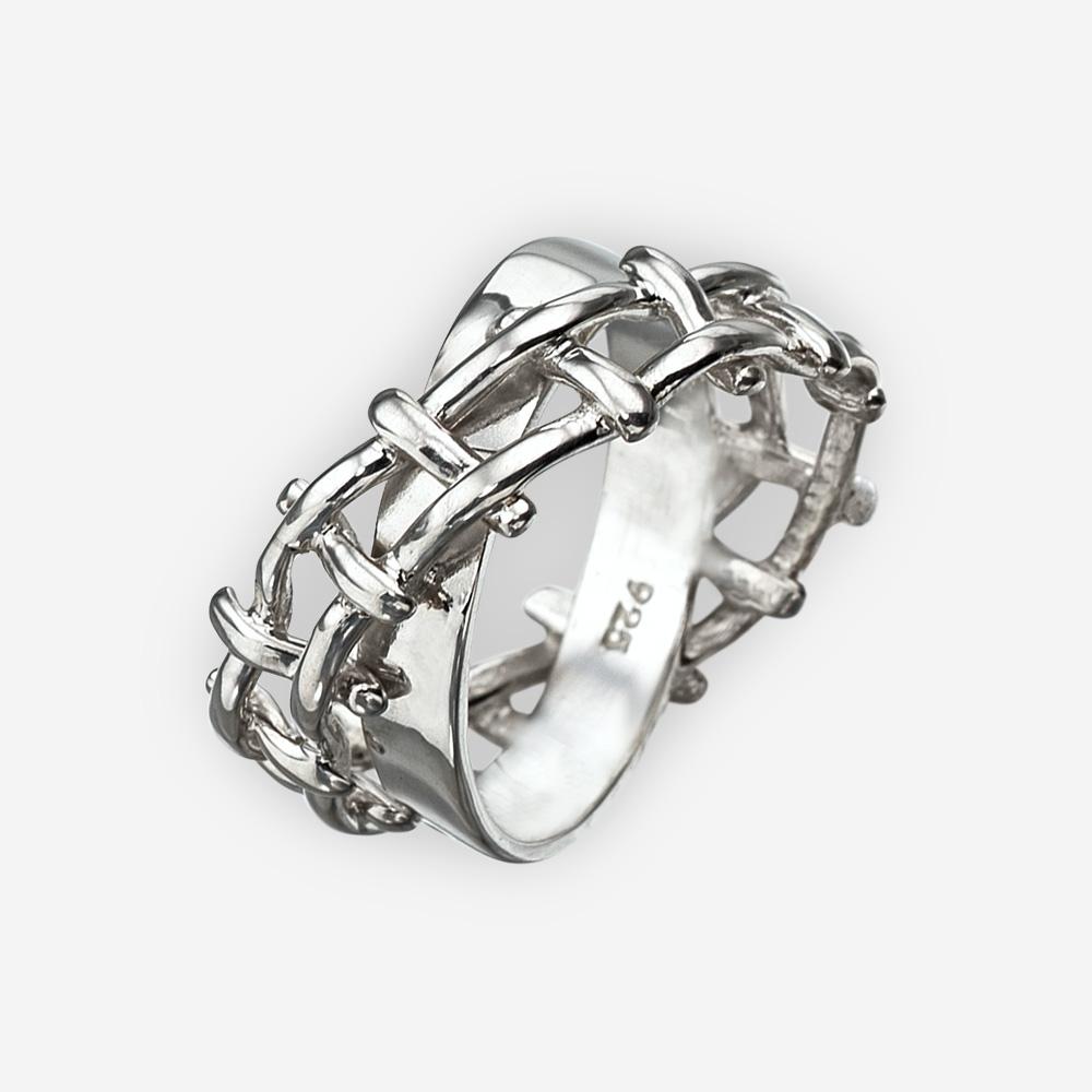 Anillo unisex de cuerda tejida hecho a mano en plata fina .925 con una banda cruzada doble.