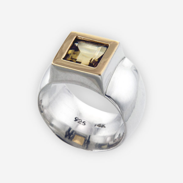 Wide Band Ring Cast in Solid Sterling Silver with Citrine and 14k Gold