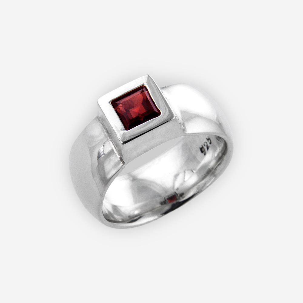 Wide band statement ring is crafted from polished 925 sterling silver and set with a square CZ stone.