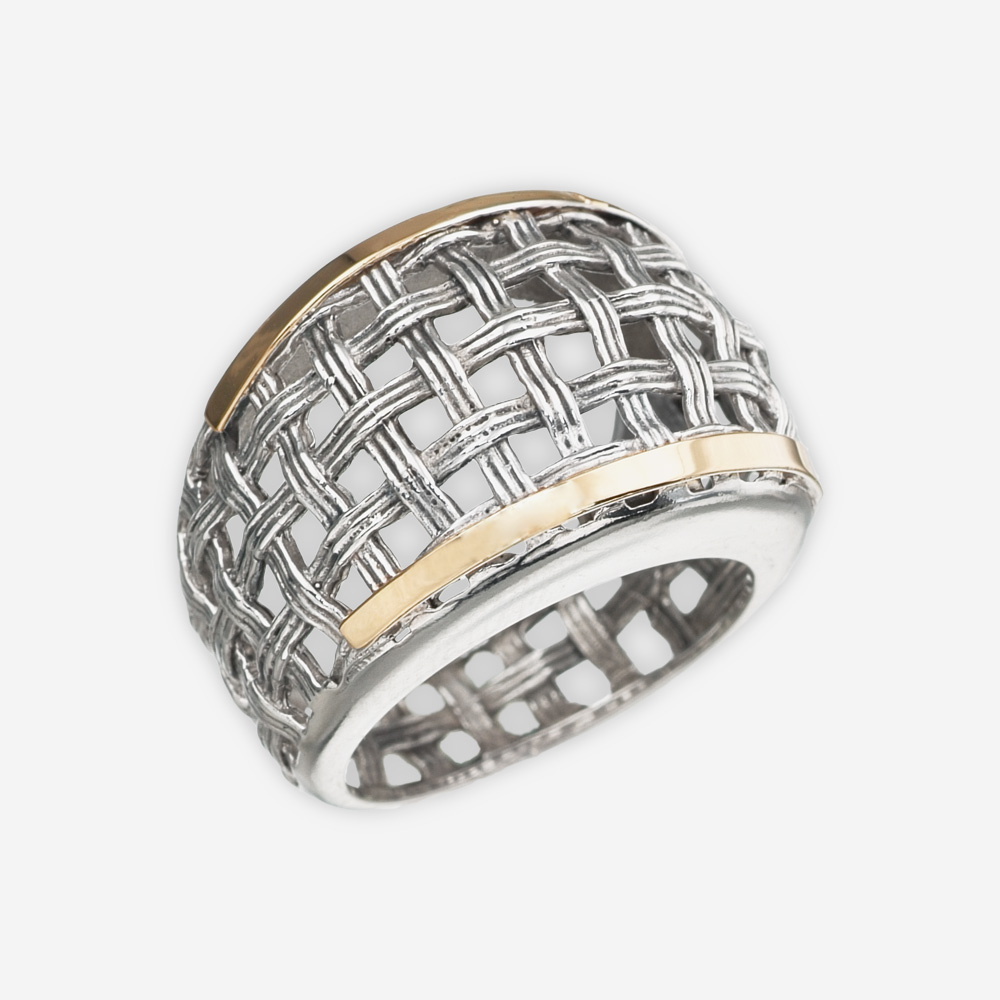Wide silver lattice statement ring crafted from 925 sterling silver and 14k gold.