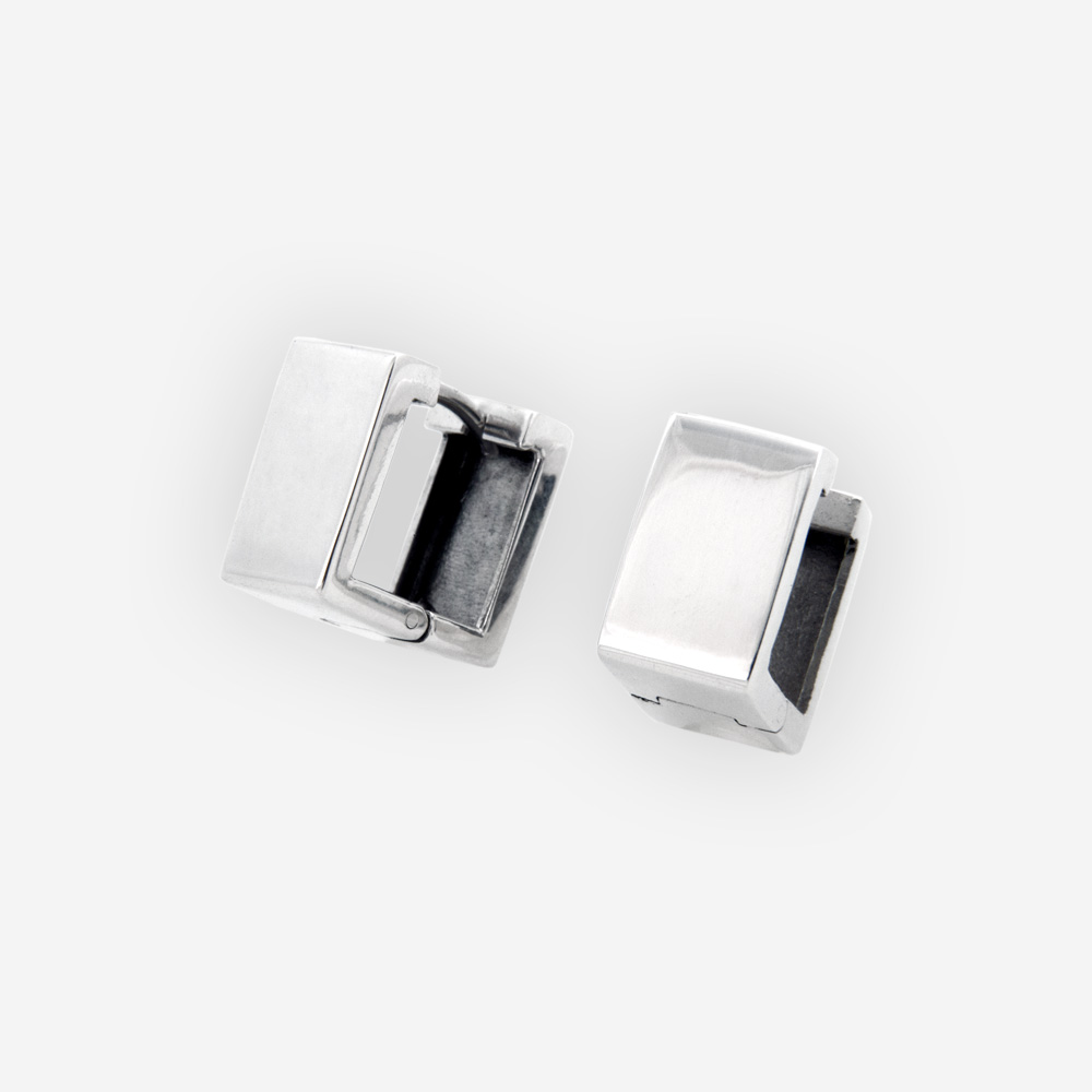 Wide square silver hoops crafted in polished 925 sterling silver with hugggie closures.