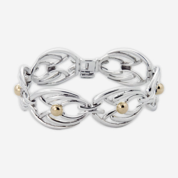 Sterling Silver Link Bracelete with 14k Gold