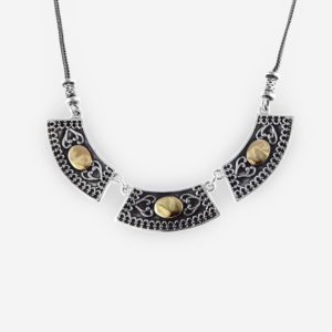 Yemenite Necklace Design Casting in Oxidized Sterling Silver with 14k Gold.