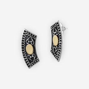 Yemenite Stud Earrings Casting in Oxidized Sterling Silver with 14k Gold.